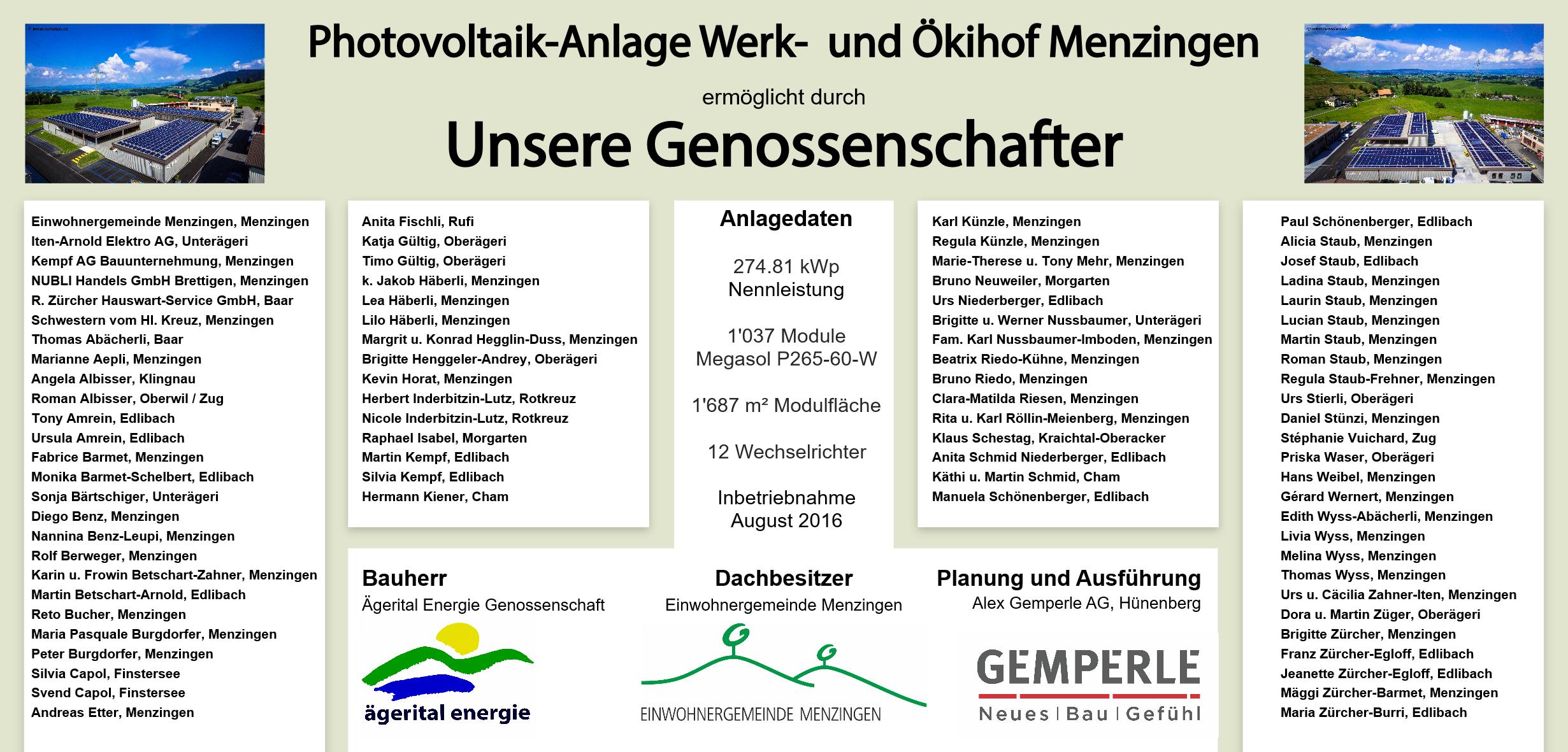 Genossenschaftstafel Werk- und Ökihof Menzingen